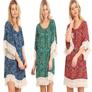 À Manches Bohémien 3 Franges Faisan Motif 4 Umgee Cachemire Robe Élégant Femme Boho S qn8Y0