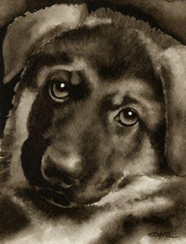 German Shepherd Puppy Art Print Sepia Watercolor 11 x 14 by Artist DJR