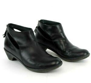 Dansko-Womens-41-10-5-Ankle-Boots-Heel-Zip-Clogs-Bootie-Black-Leather