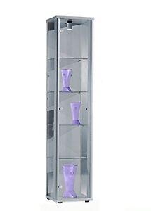 Glasvitrine-Sammelvitrine-Vitrine-Beleuchtung-Alu-Silber-Standvitrine-ESG-Glas