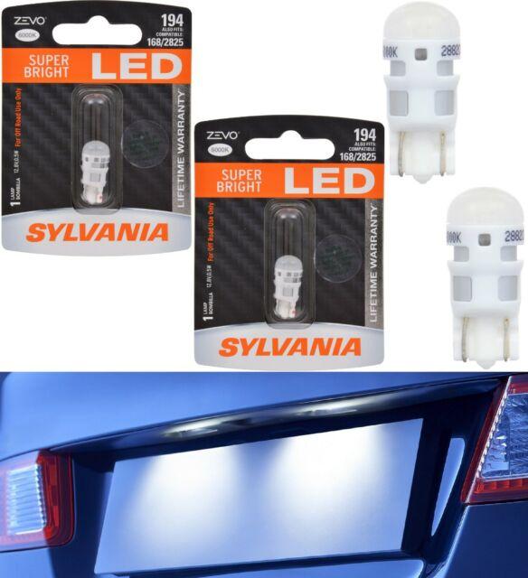 Sylvania Zevo Lumière 194 Blanc 6000k Deux Ampoules Plaque Immatriculation