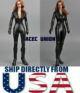 1-6-Black-Leather-Jumpsuit-For-Black-Widow-Catwoman-For-12-034-PHICEN-Figure-USA