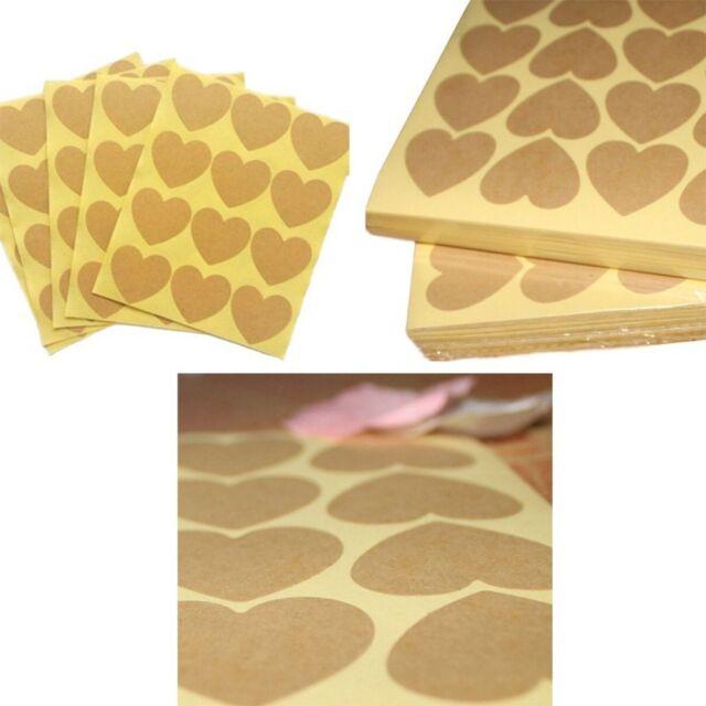 Lovely Sealing Baking Brown Blank Label Heart Shape Paper Kraft Sticker