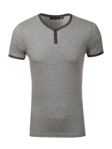 2XL Mens T-Shirt Button Up Crew Neck Casual Comfy Fitted Summer Top Sizes XS