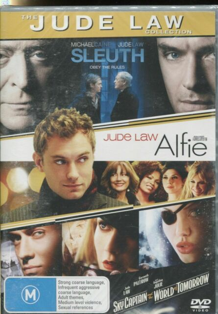 SLEUTH - ALFIE - SKY CAPTAIN AND THE WORLD OF TOMORROW - JUDE LAW - 3 MOVIES