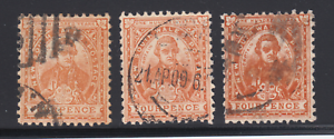 New-South-Wales-SG-338-used-1905-4p-orange-brown-Captain-Cook-3-distinct-shades