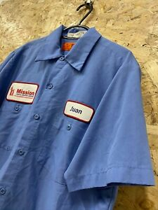 Vintage-RED-KAP-Workwear-Work-Short-Sleeve-Shirt-Blue-034-Mission-Linen-034-USA-M