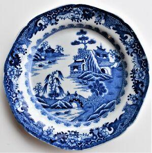 Antique-Turner-Willow-Plate-20cm-diameter-Chinese-Landscape-Two-Men-c-1810-20