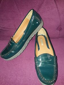 GEOX-PATENT-LEATHER-GREEN-LOAFER-SHOES-SUZE-3-EU-36