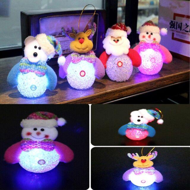 Snowman Santa Claus Ornaments Christmas Tree LED Light Hanging Xmas Decor Gift