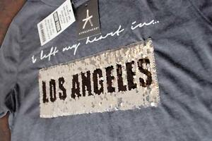 New-York-Los-Angeles-Ladies-Primark-brush-sequins-Womens-T-Shirt