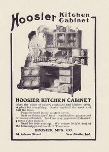 Hoosier Kitchen Cabinet 1905 Oak Cupboard W Flour Bins 8x10 Antique Reprint Ad Ebay