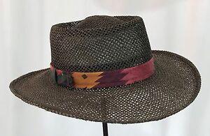 3f1be56ae8f VTG Dorfman Pacific Wide Brim Summer Fedora Brown Straw Panama Hat ...