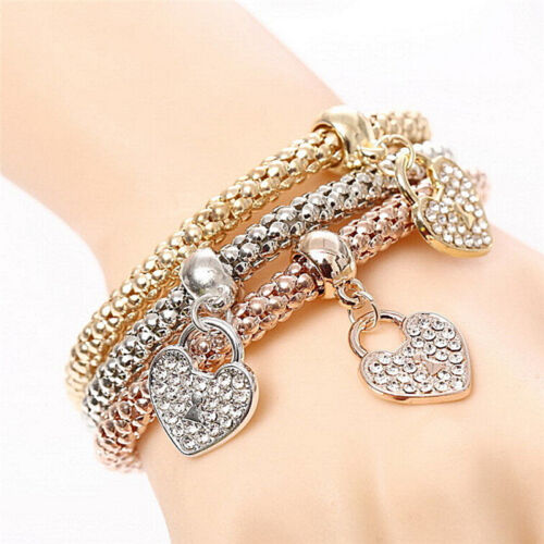 Women 3Pcs Gold Silver Rose Gold Bracelets Set Rhinestone Bangle Jewelry ha