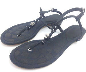 euc-Coach-Womens-9B-Black-Leather-Canvas-Ankle-Buckle-Strappy-Sandal-Flats