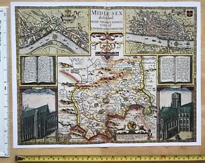 London 1600 Map.Details About Old Tudor Map Of Middlesex Inc London John Speed 1600 S 15 X 11 Reprint