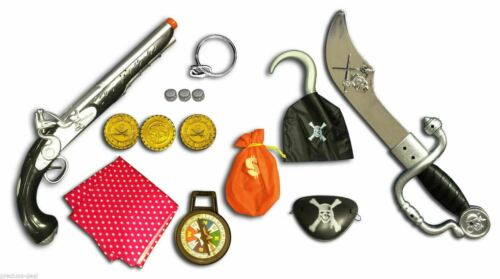 Pirates Fancy Dress Accessories Toy Set Sword Gun Eye Patch Scarf Earring  Hook