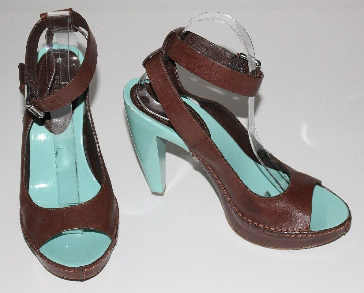 Celine 8.5 braun Leather Ankle Straps Straps Straps Sandals Turquoise Painted Platform  500 39 86160e