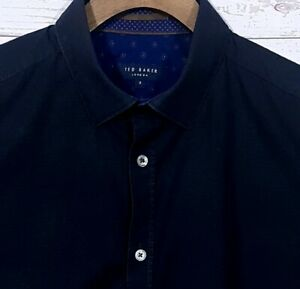 Mens-Ted-Baker-London-Pearl-Trim-Button-Down-Collar-Shirt-Black-Size-3-Medium