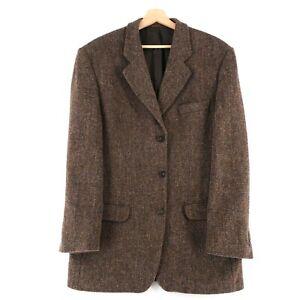 Harris Tweed 100% Laine Marron Veste Blazer Taille US / Ru 42 Eur