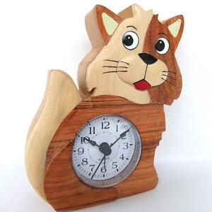 CAT-KITTEN-ALARM-CLOCK-HAND-CRAFTED-IN-WOOD-QUARTZ-MOVEMENT-BY-NAMESAKES