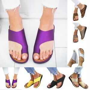 US-STO-Women-Comfy-Platform-Sandal-Ladies-Shoes-PU-LEATHER-Bunion-Corrector-BY