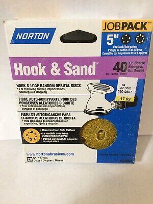 NORTON 66261017215 Hook//Loop Sanding Disc,5 D,Grit 40