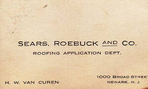 Sears Roebuck Amp Co Roofing Application Department Business