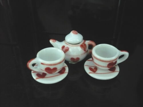 5 Piece Hand Paint Heart Red Coffee Set Kitchenware Dollhouse Miniatures Ceramic