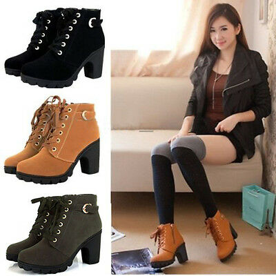 Women High Top Heel Lace Up Buckle Ankle Boots Winter Pumps Suede Shoes Hop New