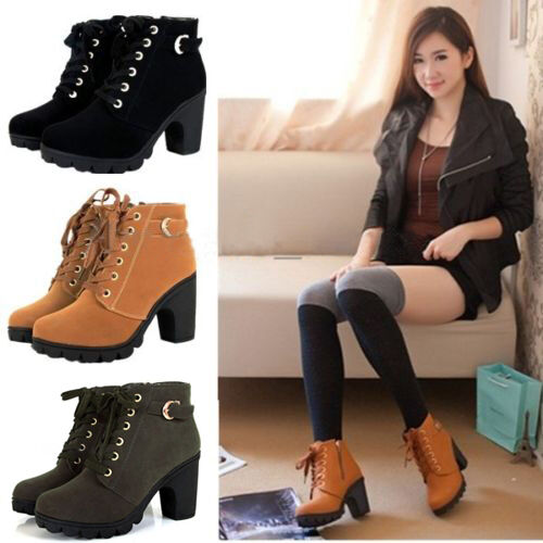 Girls Womens High Top Heel Lace Up Buckle Ankle Boots Winter Pumps Suede Shoes