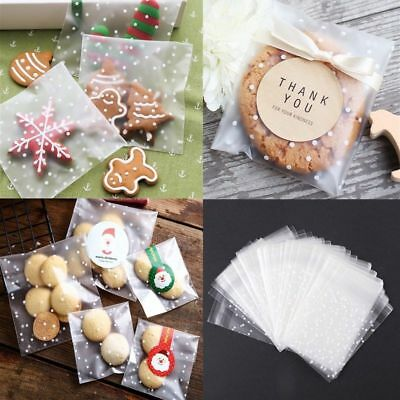 100pcs Self Adhesive Seal Gift Favors Cellophane Translucent Bag Candy Package