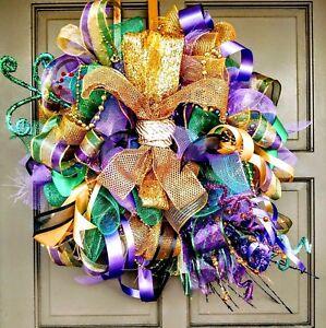 Handmade-LED-Lit-Mardi-Gras-Deco-Mesh-Wreath-Light-Up-Fleur-De-Lis-Door-Decor