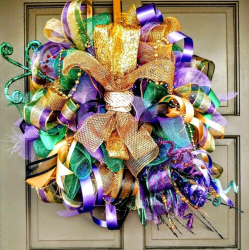 Handmade LED Lit Mardi Gras Deco Mesh Wreath Light Up Fleur De Lis Door Decor