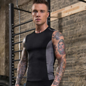 Men-039-s-Compression-Athletic-Muscle-Sleeveless-Tank-Top-Running-Gym-Shirt-Slimming