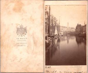 Pays-Bas-Nederland-Utrecht-le-vieux-canal-Vintage-CDV-albumen-carte-de-visite