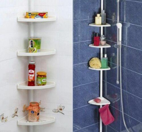 4 Tier Adjustable Telescopic Bathroom Corner Shower Shelf Unit Rack Organiser