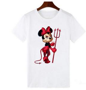 Diable Minnie Mouse Imprimer T Shirts Femmes T Shirts Decontracte Col Rond Ebay