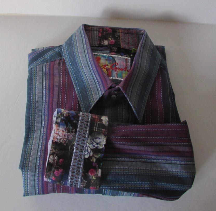 Robert Graham Reservoir shirt L stripe bluee ribbon sport large cotton tailored