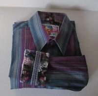 Robert Graham Reservoir Shirt L Stripe Blue Ribbon Sport Large Cotton Tailored