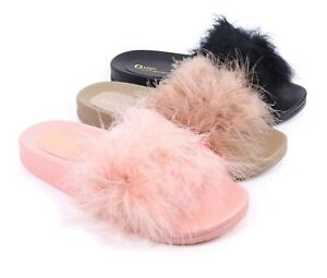 3a21218d7 3 Color Fur Fluffy Flip-Flop Slip-on Open Toe Women Sandals Flip ...