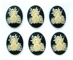 6 IVORY color FAIRY & MORNING GLORY on BLACK 40mm x 30mm Costume Jewelry CAMEOS