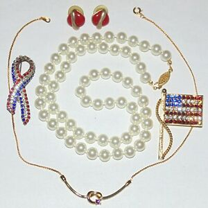 Vintage-to-Now-costume-jewelry-lot-of-5-patriotic-pearls-necklace-rhinestones