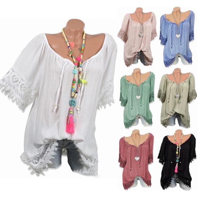 Women Summer Casual Plus Size Short Sleeve T-Shirt Lady Beach Crochet Blouse Top