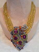 Heidi Daus 3 Strand Yellow Bead Geometric Necklace