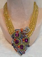 Heidi Daus 3 Strand Yellow Bead Geometric Necklace
