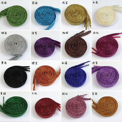 1 Pair 120cm Shiny Shoelaces Glitter Flat Sparkly Colors Shimmering Shoes Lace