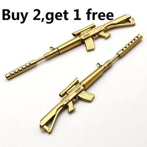 Gold-Rifle-Shape-Black-Ink-Ballpoint-Pen-Stationery-Office-Ball-Point-Novelty