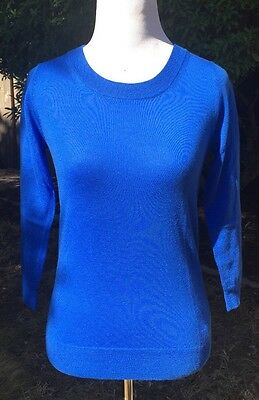 NWT J Crew Petite Merino Tippi sweater Size PM Bright Grotto $79.50 SP16 E1952