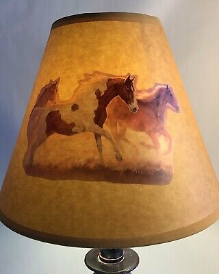 New Lamp Shade Custom Decorated Horse Decoupage, Clip,on Bulb Fits Any Lamp  Base